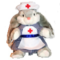 Adorable Rabbit with large floppy ears and a pink nose dressed in a nurse uniform. Keep this nurse rabbit by your bedside for a quick recovery.